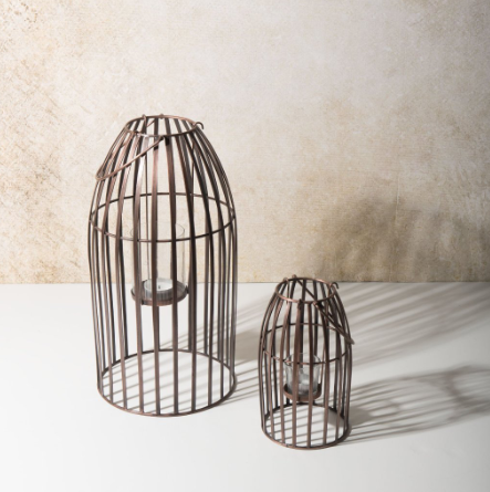 Small and large copper hurricane lanterns by Urban Nature Culture - Uniek Living