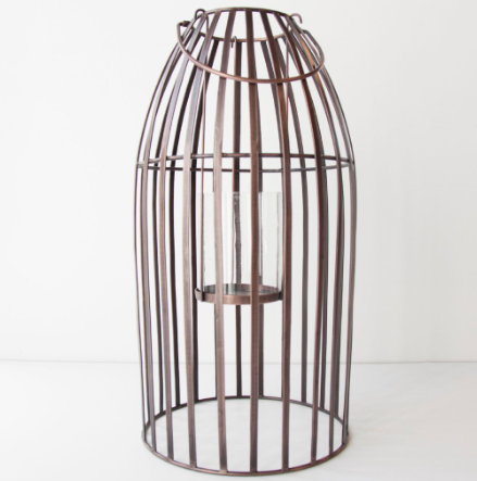 Urban Nature Culture copper hurricane lantern against white background.