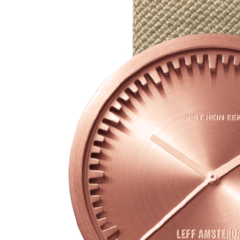 Closeup of rose gold and sand Tube Watch D Series by Leff Amsterdam.