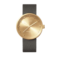 Brass and grey Tube Watch D Series by Leff Amsterdam.