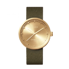 Brass and green Tube Watch D Series by Leff Amsterdam.