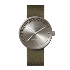 Steel and green Tube Watch D Series by Leff Amsterdam.
