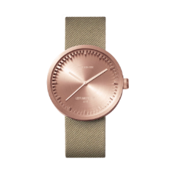 Rose gold and sand Tube Watch D Series by Leff Amsterdam.