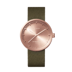 Rose gold and green Tube Watch D Series by Leff Amsterdam.