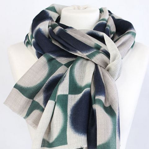The Double Dot 100% Cashmere Scarf in blue green by Sjaelz & More.