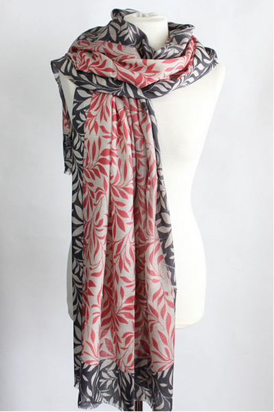 "100% CASHMERE WOOL SCARF - ""LEAF"" - Uniek Living PINK AND GREY"