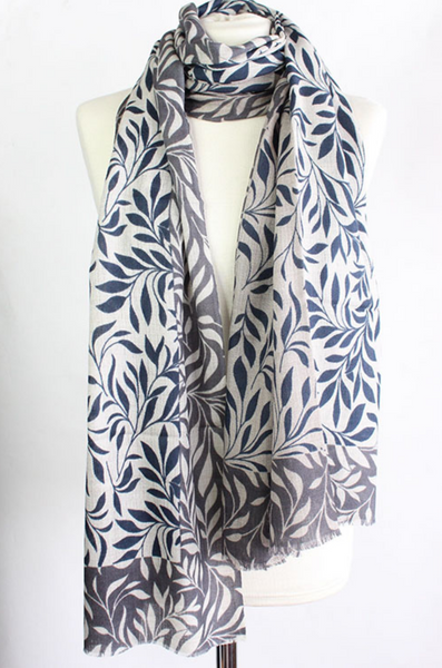 "100% CASHMERE WOOL SCARF - ""LEAF"" - Uniek Living NAVY AND GREY"