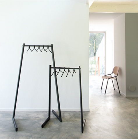 The Liza Garment Rack by ZOOI in two sizes within a home.