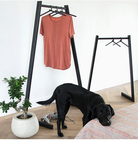 Two Liza Garment Racks by ZOOI. A shirt is hanging on the larger one. There is a potted plant and dog in the foreground.