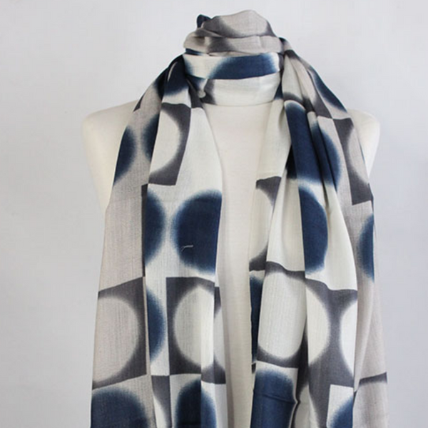 The Double Dot 100% Cashmere Scarf in blue grey by Sjaelz & More.