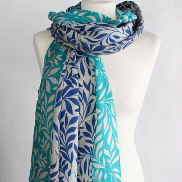 "100% CASHMERE WOOL SCARF - ""LEAF"" - Uniek Living BLUE AND TURQUOISE"