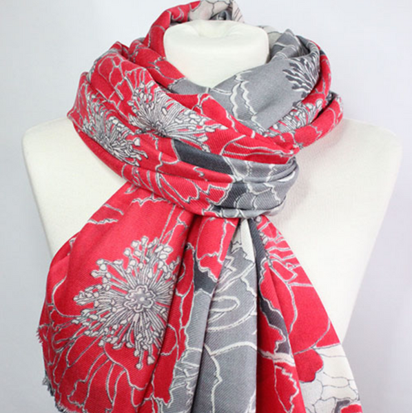 The Floral 100% Cashmere Scarf in red + white by Sjaelz & More.