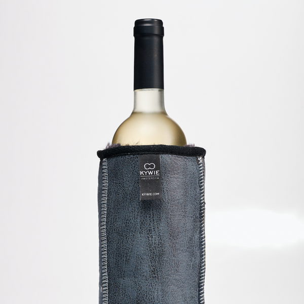 LEATHER WINE COOLER - 100% NATURAL SHEEPSKIN Blue Grey