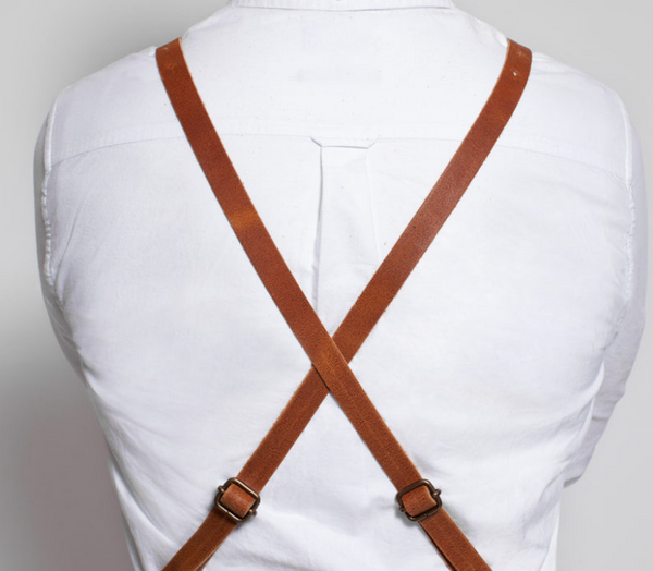 DULUXE LEATHER APRON WITH BACK-STRAP