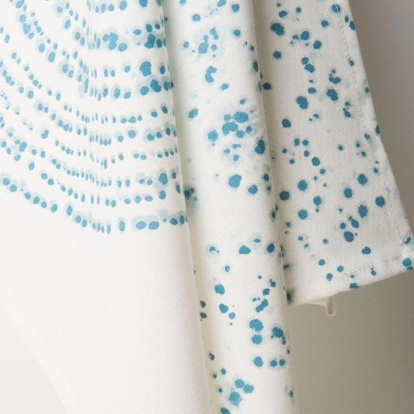 Closeup of the Kuba Art tea towels by Urban Nature Culture. White tea towel with blue dot design.