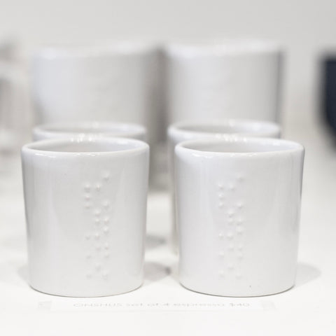 WHITE GLAZED CERAMIC ESPRESSO & COFFEE CUPS - 2 sizes - individual