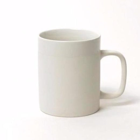 CER CYL MAT large mug with band by KINTA in white.
