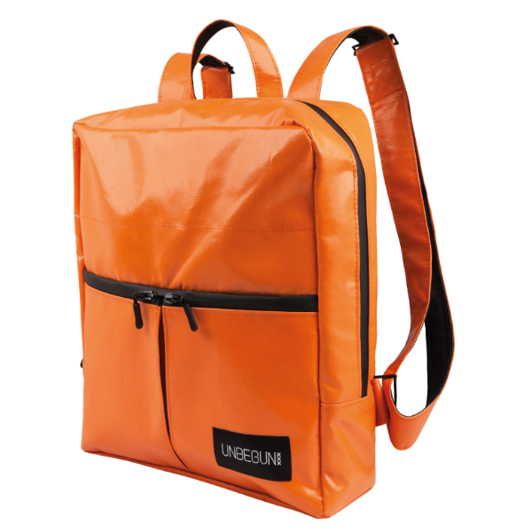 An orange Alberty Cuyp waterproof backpack against a white background.