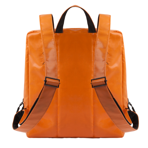 Back view of the Alberty Cuyp waterproof backpack in orange.