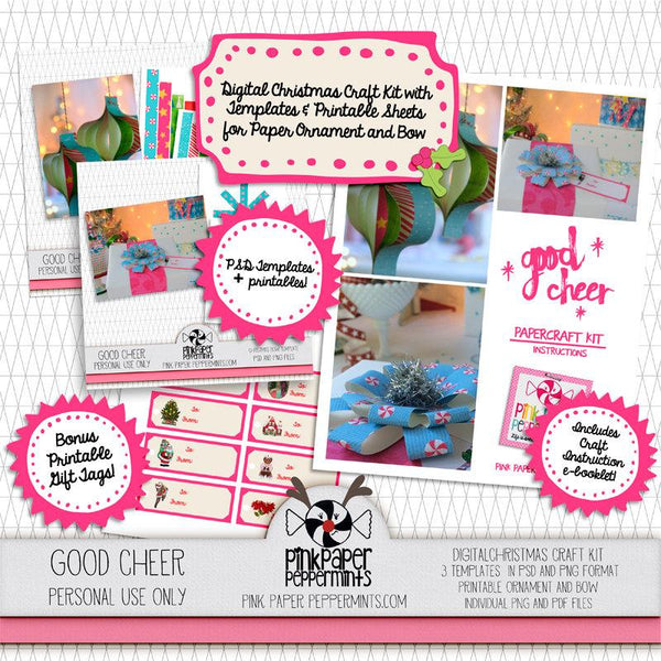 Good Cheer - Printable Paper Crafts Kit - Pink Paper Peppermints