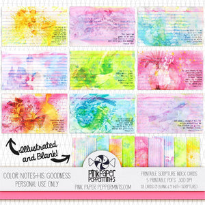 Color Notes - His Goodness - 18 prinable 3 x 5 mixed media index cards - Pink Paper Peppermints