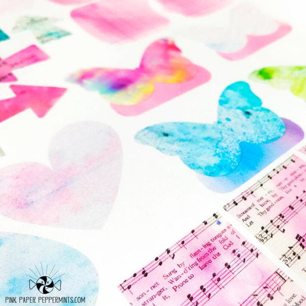 Painted Pages - Printable Stickers and Tags - Pink Paper Peppermints