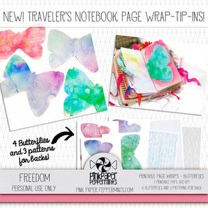 Painted Pages - Page Wraps - Butterfly Traveler's Notebook Embellishments - Pink Paper Peppermints