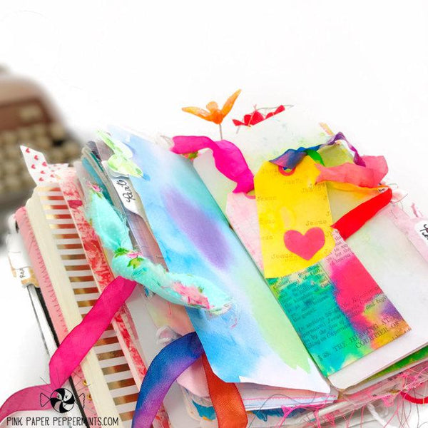 Painted Pages - Page Wraps - Pockets & Tags - Pink Paper Peppermints