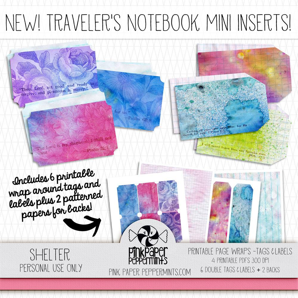 Painted Pages - Page Wraps - Labels and Tags - Pink Paper Peppermints
