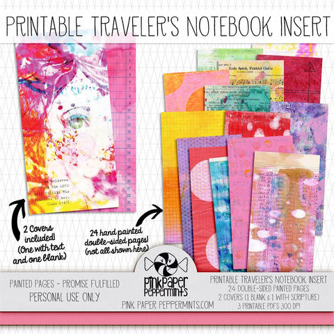 Painted Pages - Promises Fulfilled Traveler's Notebook Insert - Pink Paper Peppermints