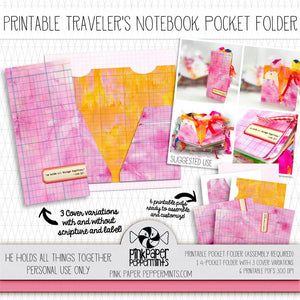 Painted Pages - Traveler's Notebook Pocket Folder - Pink Paper Peppermints