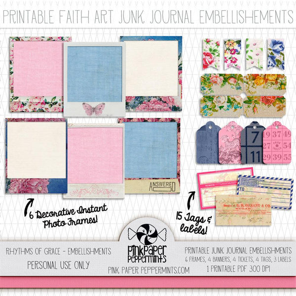 Rhythms of Grace - Traveler's Notebook Embellishments - Pink Paper Peppermints