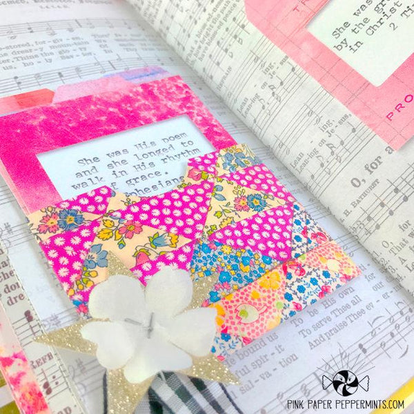 Rhythms of Grace - Vintage Journal Pockets and Index Cards - Pink Paper Peppermints