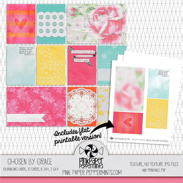 Chosen By Grace - Printable Journaling Cards - Pink Paper Peppermints