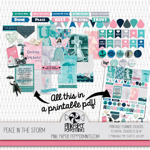 Peace in the Storm - Printable Bible Journaling and Planner Stickers - Pink Paper Peppermints