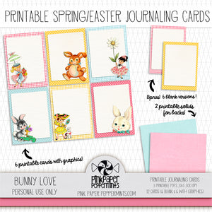 Bunny Love Vintage Easter Spring Journaling Cards for Bible Journaling, Junk Journaling, and Faith Art Journaling
