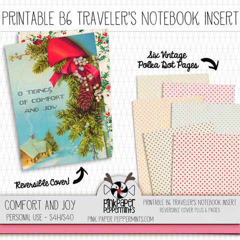 Comfort and Joy - B6 Vintage Christmas Printable Traveler's Notebook Insert - Perfect for Junk Journaling, Faith Journal or Prayer Journal
