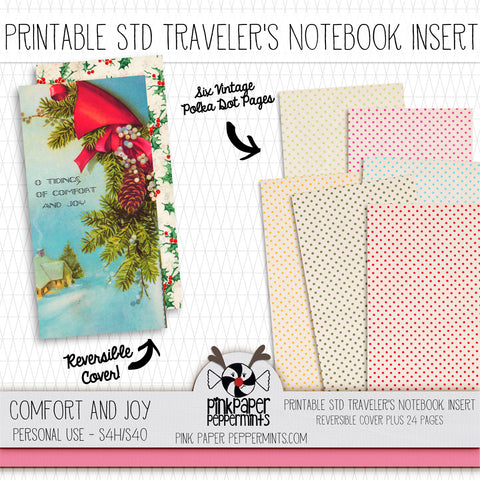 Comfort and Joy - Standard Vintage Christmas Printable Traveler's Notebook Insert - Perfect for Junk Journaling, Faith Journal or Prayer Journal
