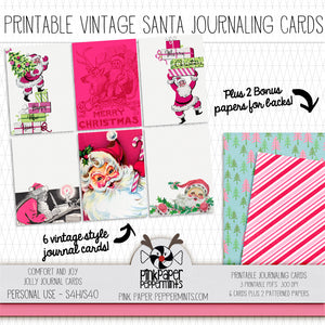 Comfort and Joy - Vintage Santa Printable Journaling Cards - Perfect for Junk Journaling, Faith Journal or Prayer Journal