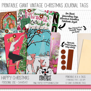 Happy Christmas - Printable Giant Journaling Tags - For Junk Journals, Faith Journals, Bible Journaling or Scrapbooking
