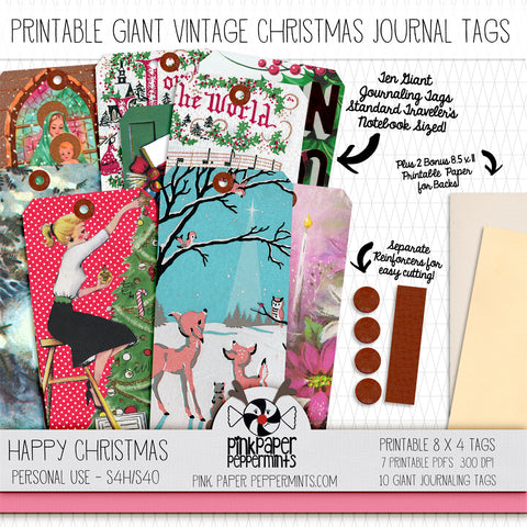 Happy Christmas Giant Journaling Tags - For Junk Journals, Faith Journals, Bible Journaling or Scrapbooking