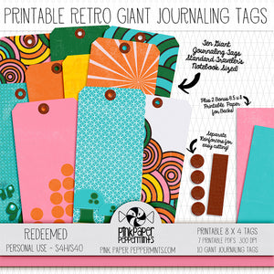 Redeemed - Printable Giant Journaling Tags - For Faith-Based Art Journal, Bible Journaling or Scrapbooking