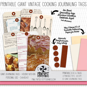 Giant Recipe Journaling Tags - Printable Vintage Tags for junk journals, bible journaling, traveler's notebooks and scrapbooks
