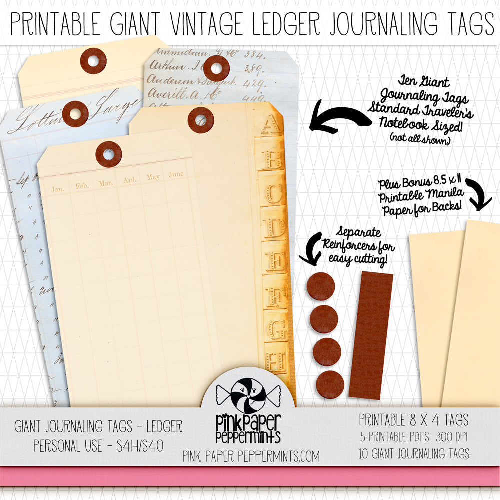Giant Junk Journaling Ledger Paper Tags - Printable Vintage Ledger Paper Tags for junk journals, bible journaling, travler's notebooks and scrapbooks