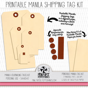 Manila Junk Journaling Tag Kit - Printable Manila Tags for junk journals, bible journaling, travler's notebooks and scrapbooks
