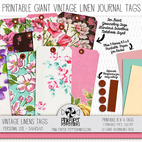 Rhythms of Grace - Vintage Linens Printable Giant Journaling Tags