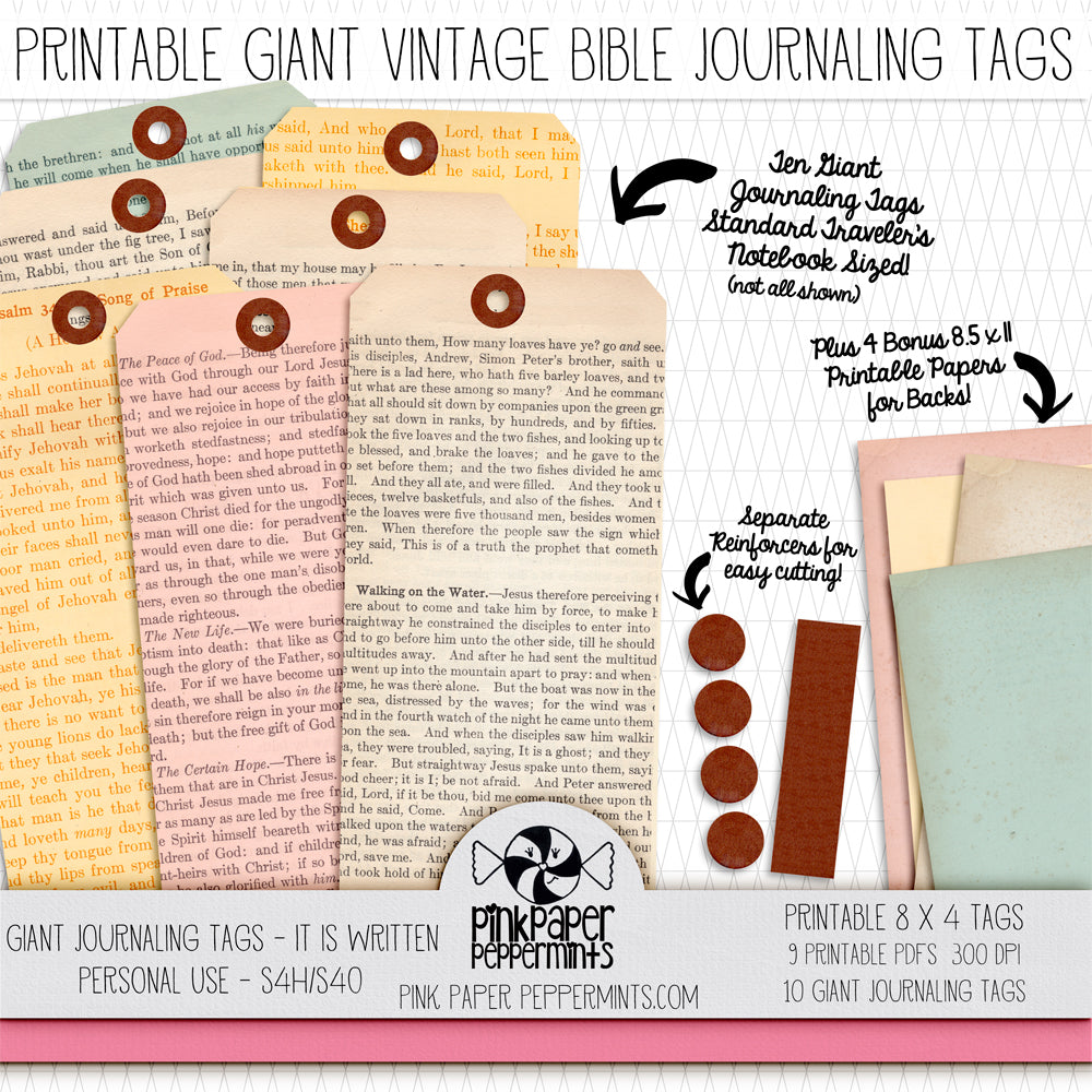 Giant Bible Journaling Tags - Printable Vintage Bible Tags for junk journals, bible journaling, travler's notebooks and scrapbooks