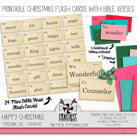 Happy Christmas - Printable Bible Verse Flash Cards - For Faith-Based Art Journal, Bible Journaling or Scrapbooking