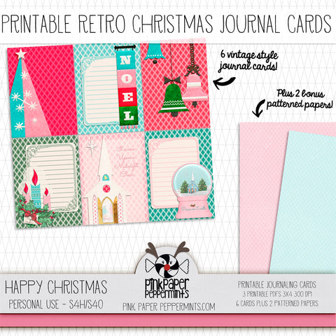 Happy Christmas - Printable Vintage Christmas Journaling Cards - For Faith-Based Art Journal, Bible Journaling or Scrapbooking
