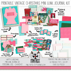 Happy Christmas - Printable Vintage Christmas Mini Junk Journal Kit - For Faith Journals, Bible Journaling or Scrapbooking